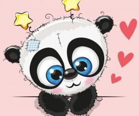 Cute panda happy birthday card vector 02