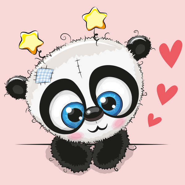 Cute Panda Happy Birthday Card Vector 02 Free Download