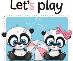 Cute panda happy birthday card vector 03