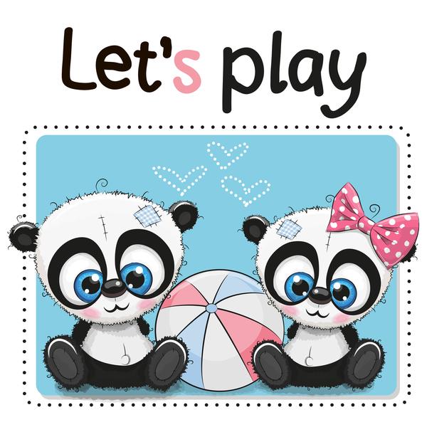 Cute Panda Happy Birthday Card Vector 03 Free Download