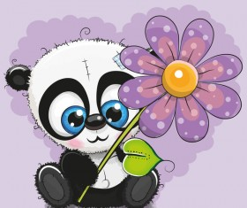 Cute panda with flower cartoon vector 01