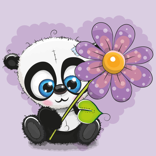 Cute panda with flower cartoon vector 01