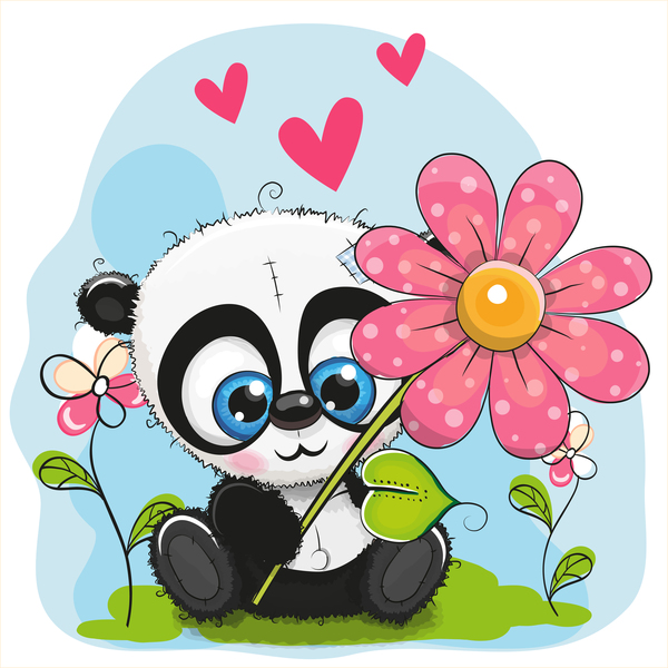 Cute panda with flower cartoon vector 02