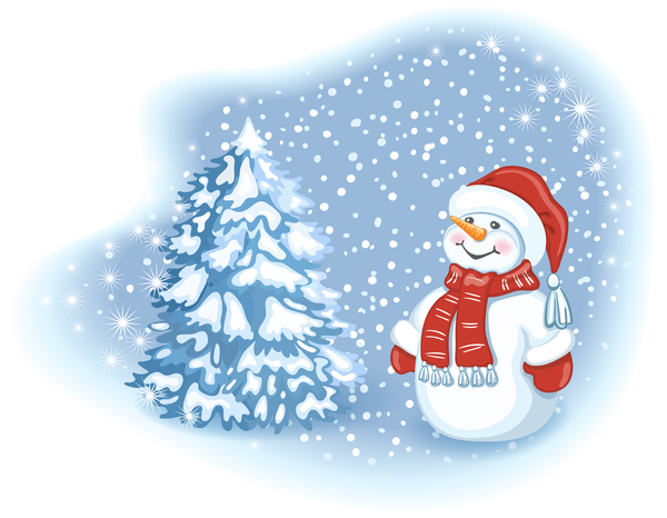Cute snowman with christmas tree vector 01 free download