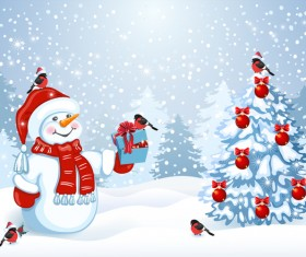 Cute snowman with christmas tree vector 02