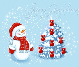 Cute snowman with christmas tree vector 03