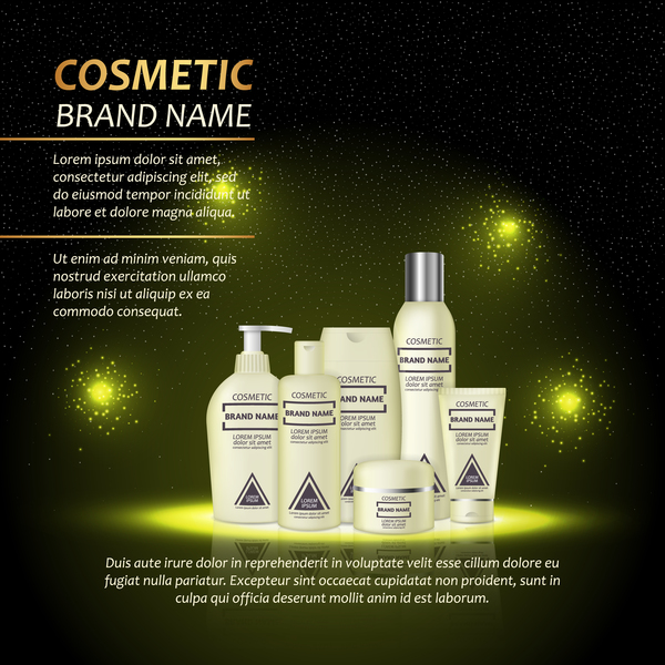 Dark green cosmetic advertising poster template vector 02