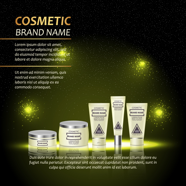 Dark green cosmetic advertising poster template vector 06