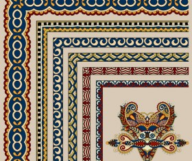 Decorative border corner ethnic styles vector 03