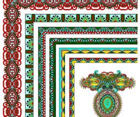 Decorative border corner ethnic styles vector 04