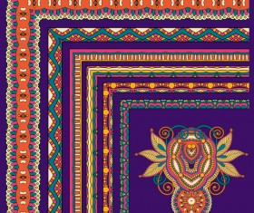 Decorative border corner ethnic styles vector 05