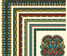 Decorative border corner ethnic styles vector 07