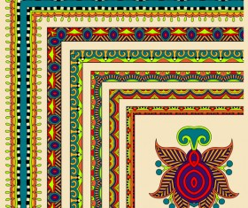 Decorative border corner ethnic styles vector 09
