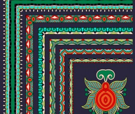 Decorative border corner ethnic styles vector 11