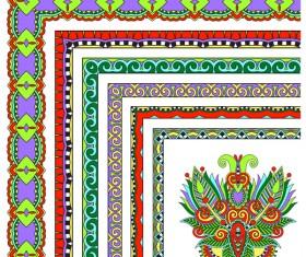 Decorative border corner ethnic styles vector 12