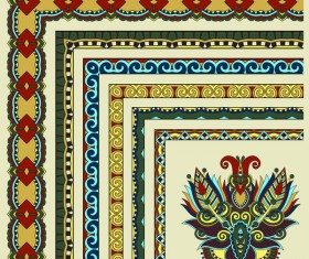 Decorative border corner ethnic styles vector 13
