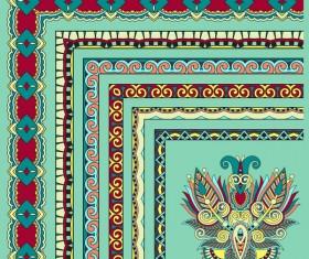 Decorative border corner ethnic styles vector 14