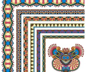 Decorative border corner ethnic styles vector 15
