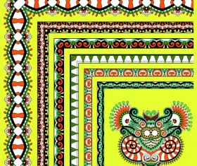 Decorative border corner ethnic styles vector 16