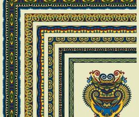 Decorative border corner ethnic styles vector 17