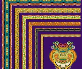 Decorative border corner ethnic styles vector 19