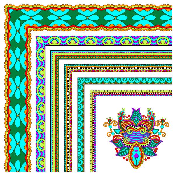 Decorative border corner ethnic styles vector 20