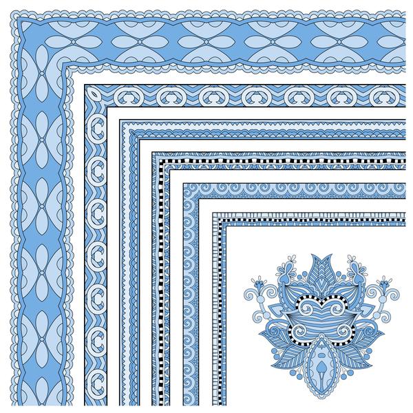 Decorative border corner ethnic styles vector 21
