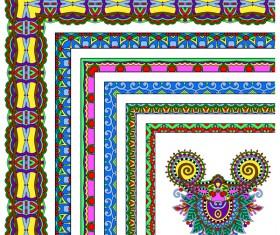 Decorative border corner ethnic styles vector 22