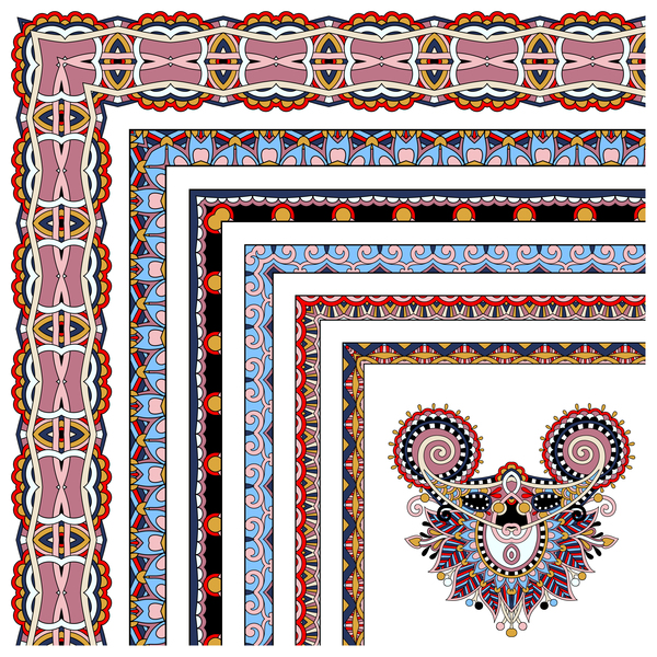 Decorative border corner ethnic styles vector 23