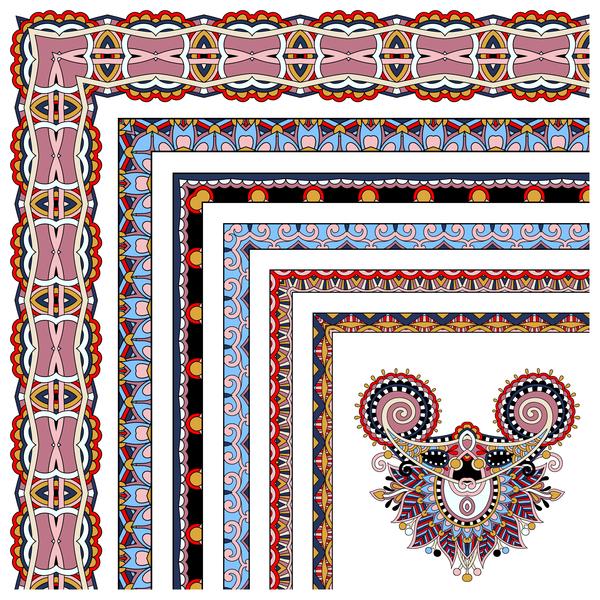 Decorative border corner ethnic styles vector 23