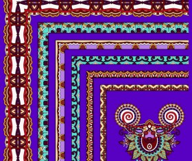 Decorative border corner ethnic styles vector 24
