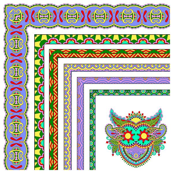 Decorative border corner ethnic styles vector 25