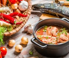 Delicious fresh fish soup Stock Photo