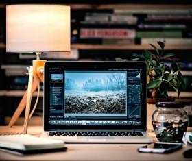 Desk on a laptop Stock Photo