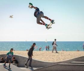 Difficult skateboarding show Stock Photo