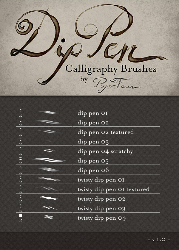 Dip Pen photoshop brushes