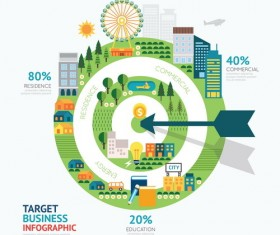 Ecology city business infographic vector 01