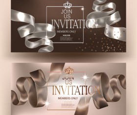 Elegant beige invitation cards with silk curly ribbons and grown vector