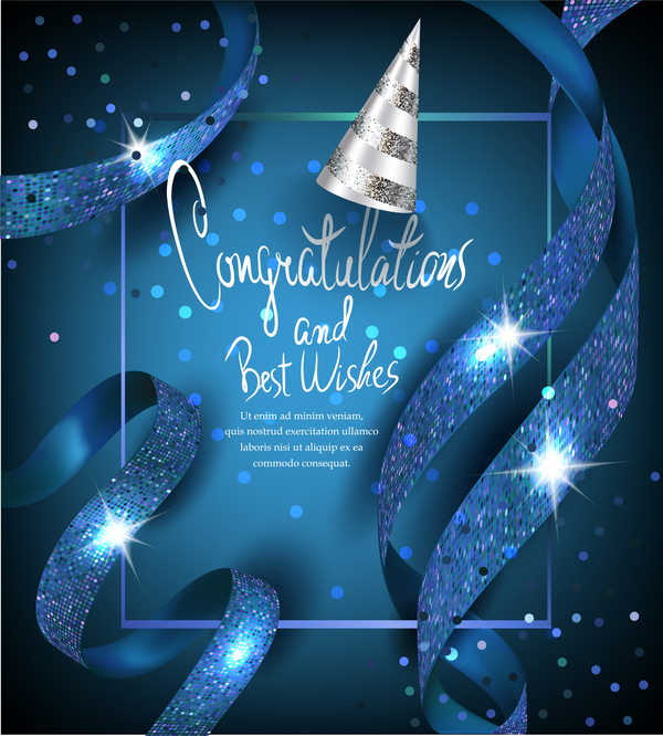 Elegant blue card with blue ribbons and party hat vector