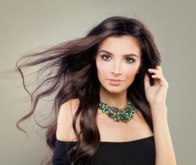 Elegant makeup ringletted lovely woman Stock Photo 01
