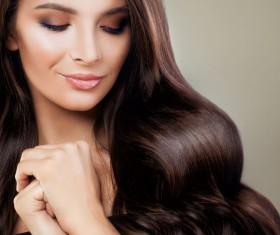 Elegant makeup ringletted lovely woman Stock Photo 03
