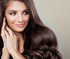Elegant makeup ringletted lovely woman Stock Photo 04