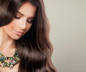 Elegant makeup ringletted lovely woman Stock Photo 06