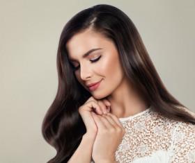 Elegant makeup ringletted lovely woman Stock Photo 11