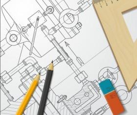 Engineer design drawings template vector 01