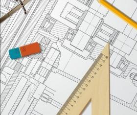 Engineer design drawings template vector 02
