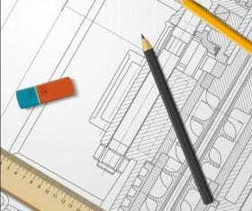 Engineer design drawings template vector 03