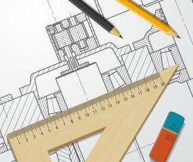 Engineer design drawings template vector 04