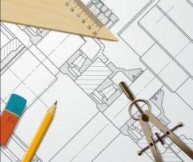 Engineer design drawings template vector 05