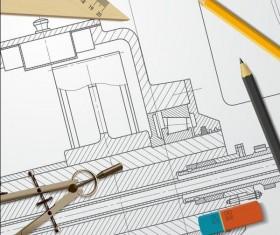 Engineer design drawings template vector 06